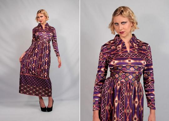 70s eastern print dresses