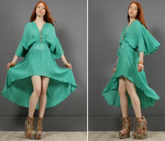 70s gauzy cotton dress