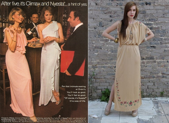 70s dresses grecian glam advertisement alongside fashion blogger