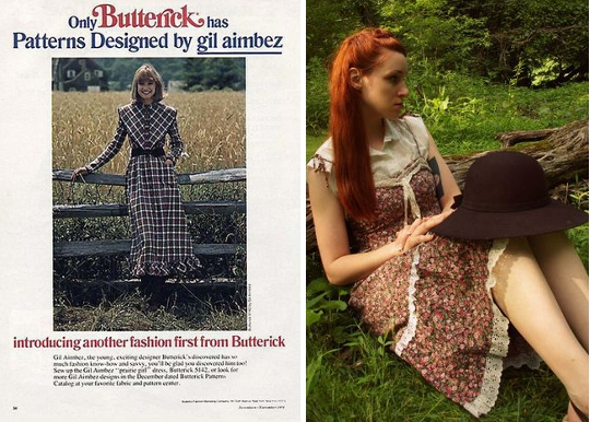 1970s dresses vintage ad for prairie dress alongside modern fashion blogger