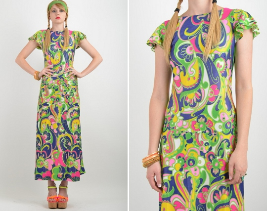70s psychedelic print dress