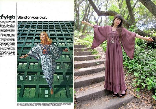 70s dresses vintage ad angel wing dress alongside blogger wearing angel sleeves dress