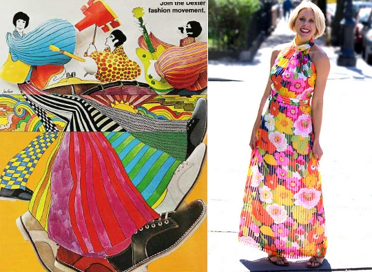 70s psychedelic print dresses