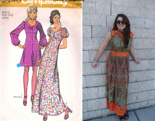 70s dresses empire waist sewing pattern alongside modern woman wearing empire waist '70s dress