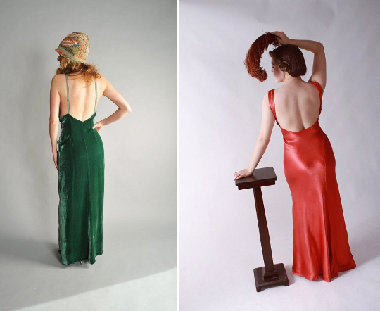 1930s fashion backless gowns