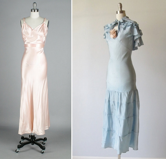 1930s fashion bias cut dress