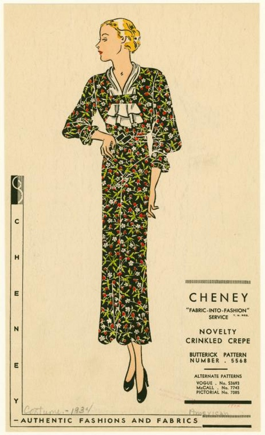 1930s fashion advertisement for crepe dresses