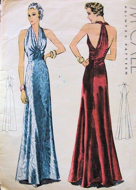 1930s fashion halter dress vintage sewing pattern