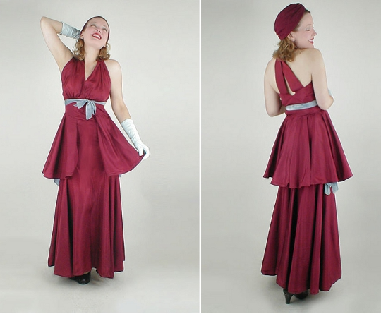 1930s fashion halter neck dress