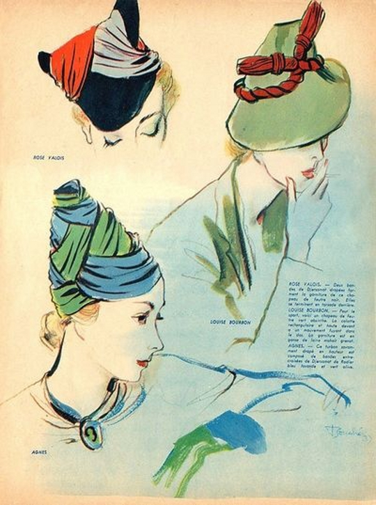 1930s fashion advertisement for hats