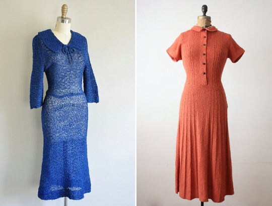 1930s fashion knit dresses