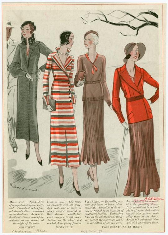 1930s fashion knitwear daysuits