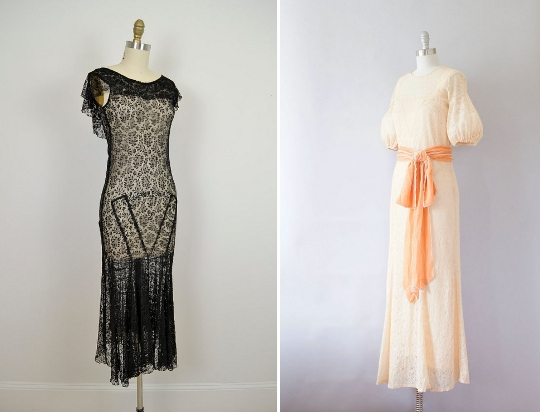 1930s fashion lace dresses
