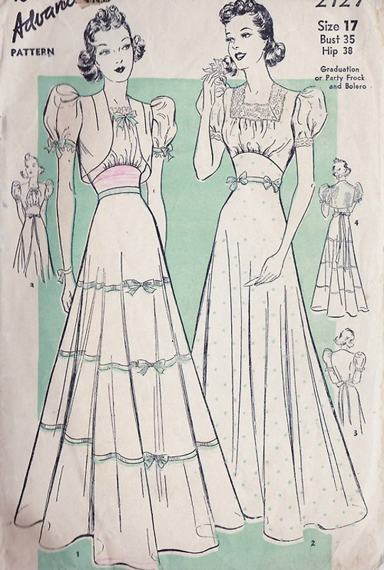 1930s sewing patterns of party dresses with puff sleeves