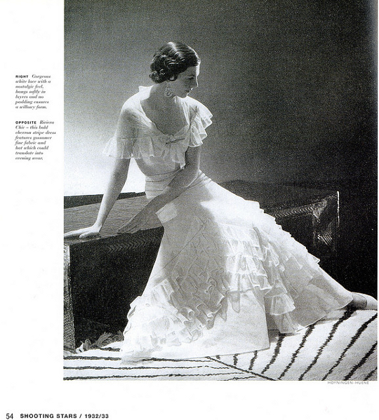 1930s fashion advertisement for a ruffled dress