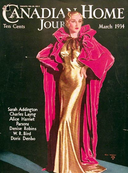 1930s fashion advertisement showing velvet cape and silk dress