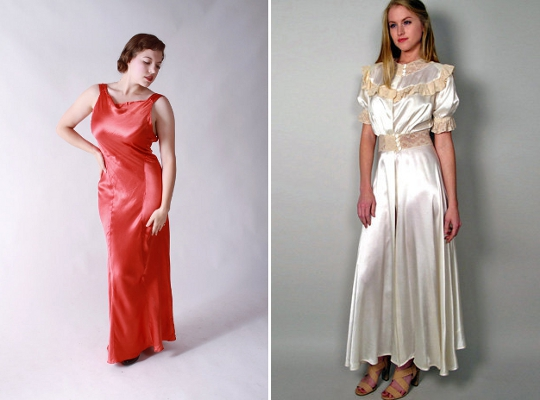 1930s fashion silk dresses