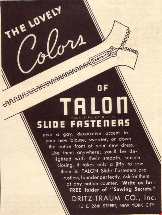 1930s fashion advertisement for talon zipper
