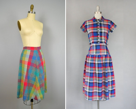 40s clothes plaid print