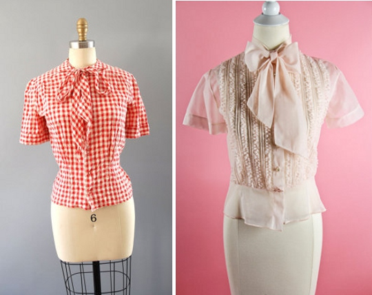 40s clothes pussycat blouses