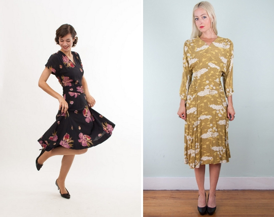 40s clothes rayon dresses