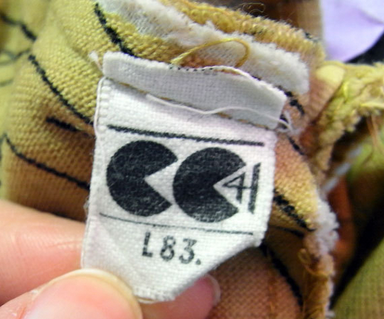cc41 clothing label from a'40s dress