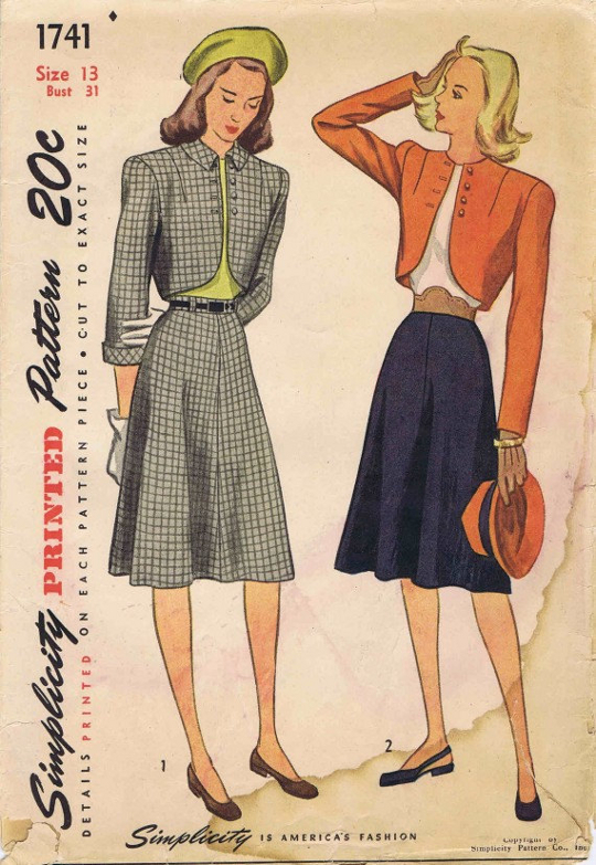 40s sewing pattern bolero jacket