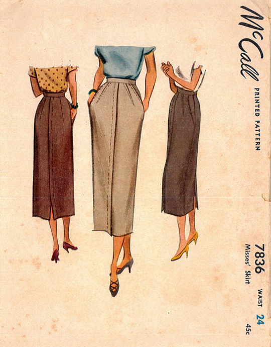 40s sewing pattern for pencil skirts