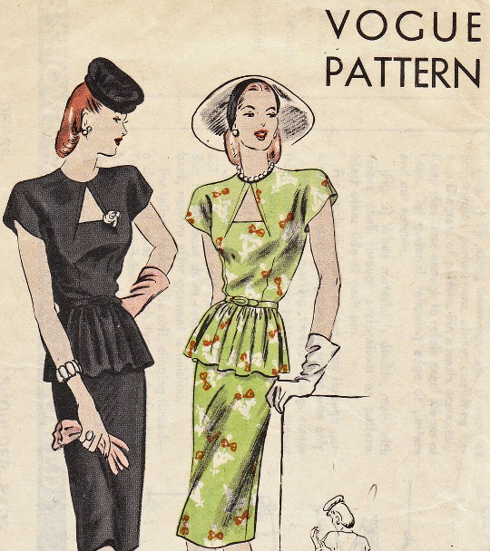40s sewing pattern for peplum dresses
