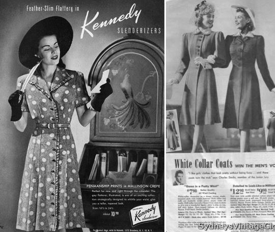 40s clothing ad wide shoulders