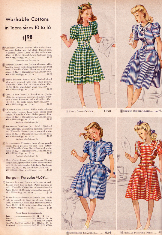 40s clothing ad for gingham