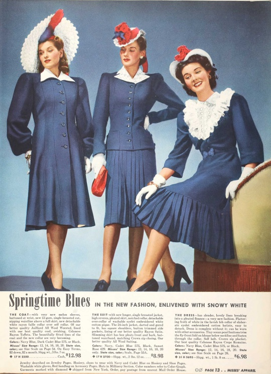 40s vintage clothing ad showing patriotic prints