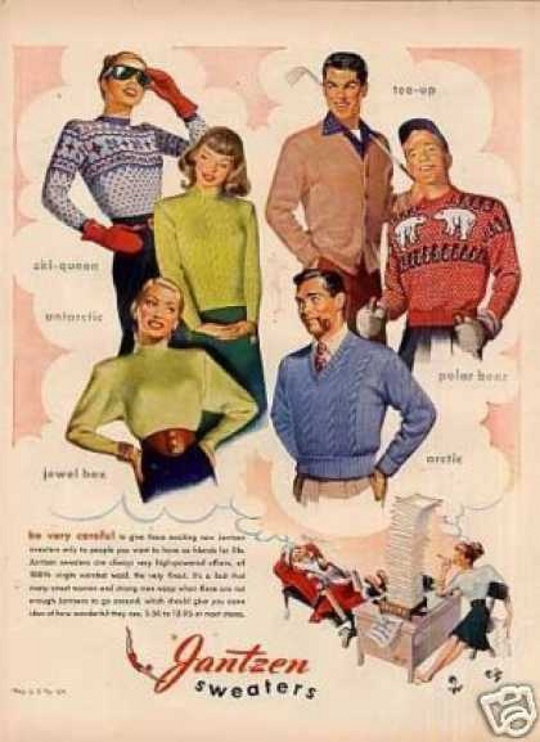 A 1940s clothing fashion advertisement.