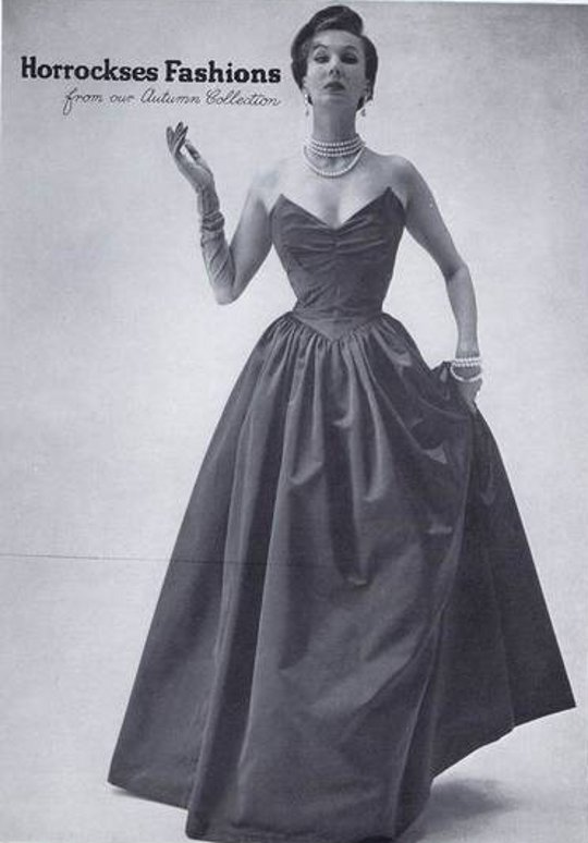40s vintage clothing ad of taffeta dress
