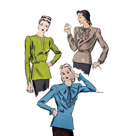 40s vintage sewing pattern for pussycat blouses