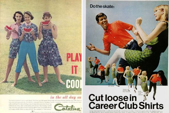 1960s advertisements comparing styles of early 60s to late 60s