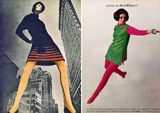 1960s advertisements showing mini skirts with colored tights