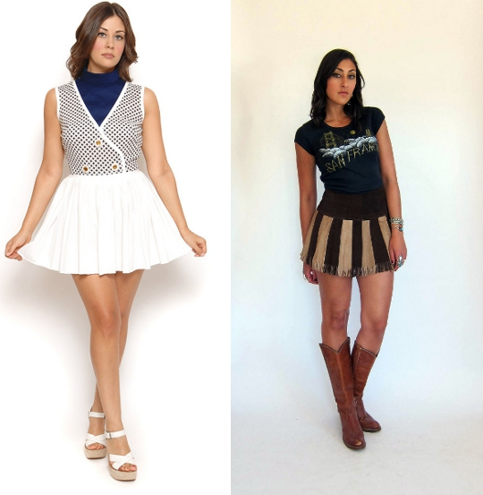 modern girls wearing vintage mini skirts from etsy