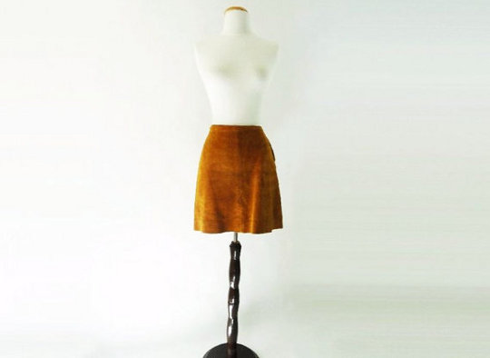 vintage suede mini skirt from the 1960s