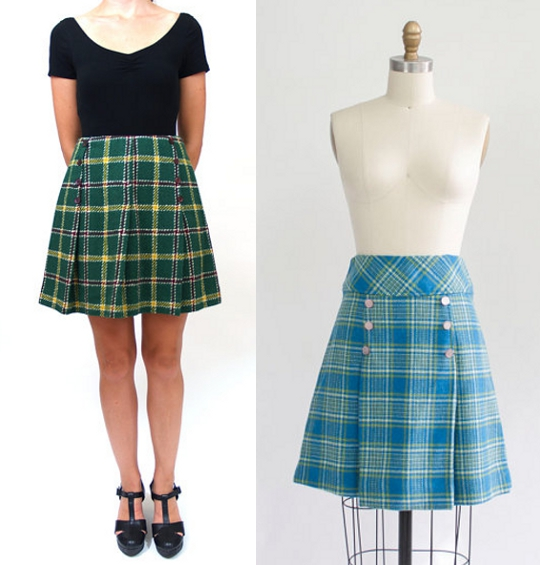 vintage plaid mini skirts available on etsy