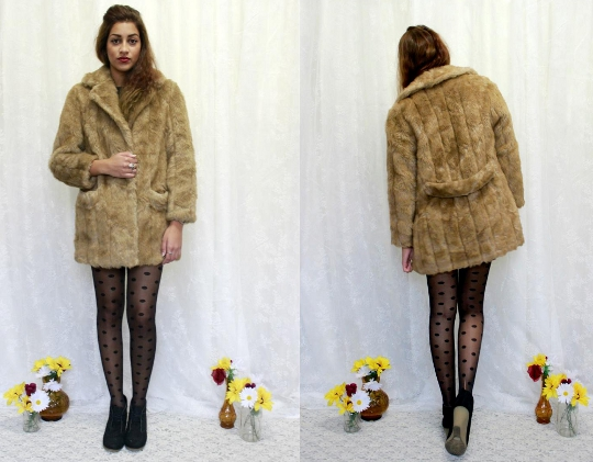 blonde faux fur vintage jacket