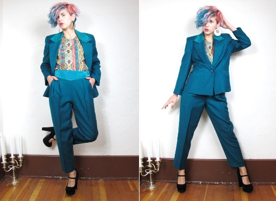1980s teal suit from honeymoon muuse vintage
