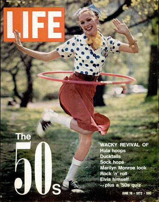a 1970s magazine cover of Life depicting a 1950s girl
