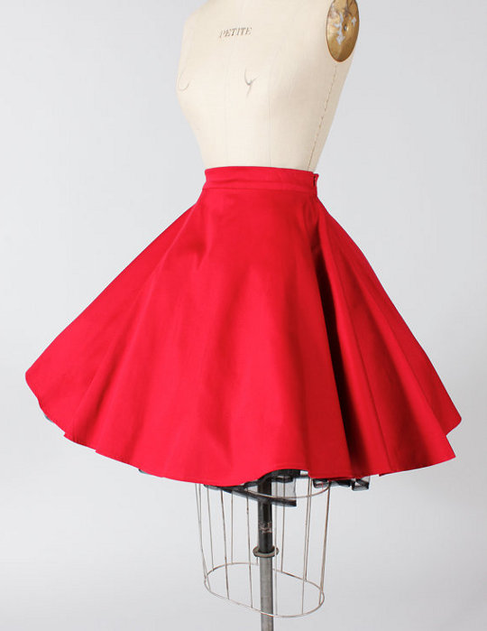 1950s vintage style rockabilly red skirt