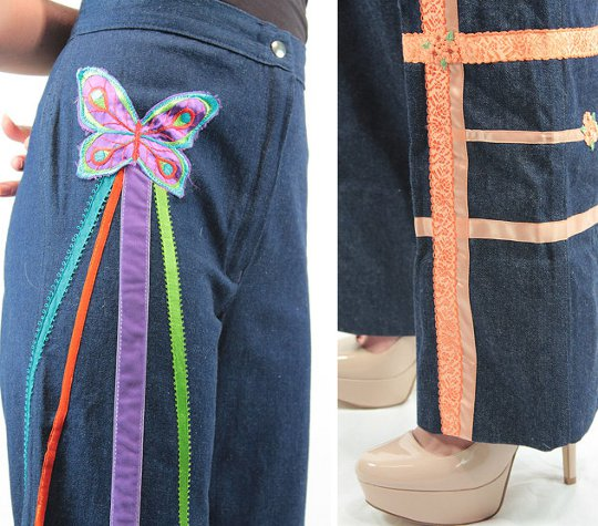 1970s fashion decorated jeans