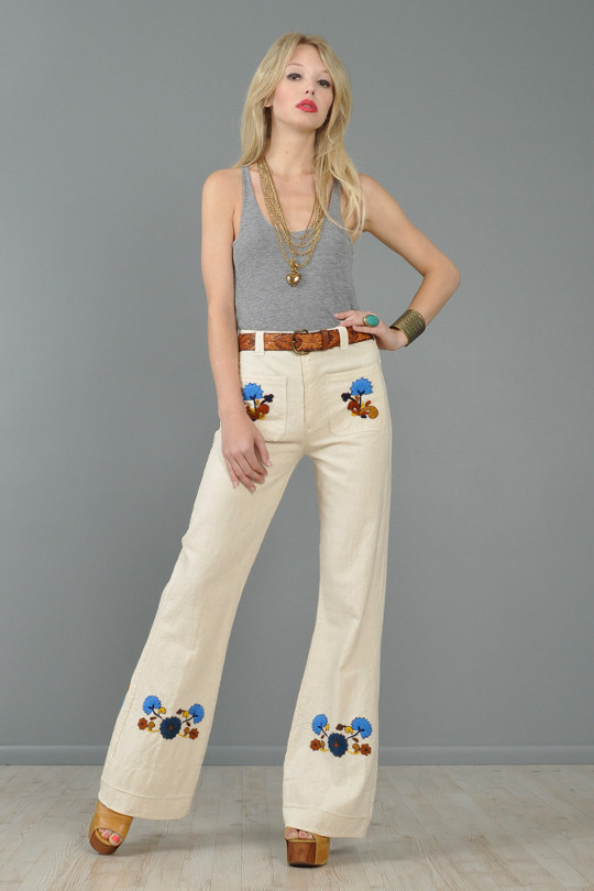 1970s fashion embroidered pants