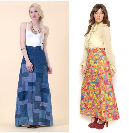1970s fashion maxi skirt