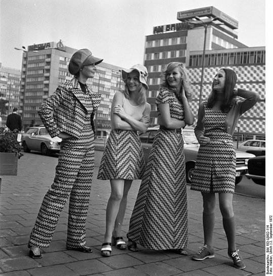 1970s fashion midi mini maxi skirts