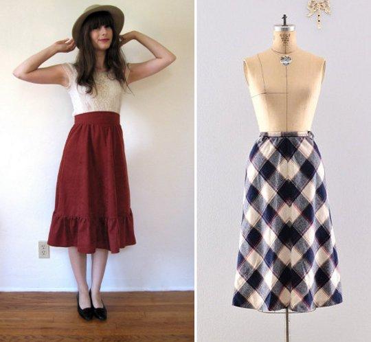 1970s fashion midi skirts