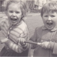 Caroline Henney and her sister Lyn as children in 1950s England.